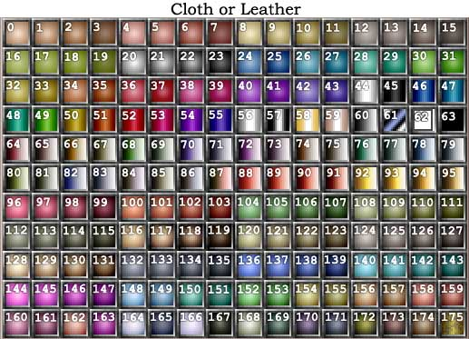 NWN cloth/leather color palette with numbers