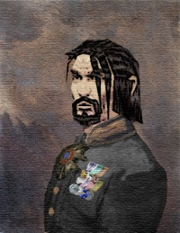 An oil painting on canvas of Brigadier Sir Thaylis Beign in his Blackhawk dress uniform, shortly after M'Chek's victory over the Drotid. The Star of the Order of Balance hangs from his neck.